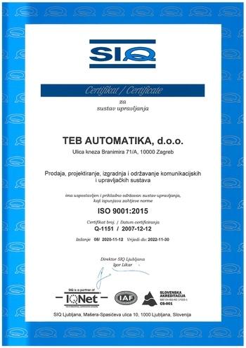 Certifikat za sustav upravljanja